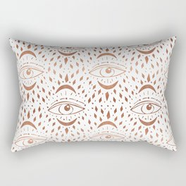 Mystic Eye - copper, rosegold, mystical art, eveil eye, eye design, linocut home dec monoo Rectangular Pillow