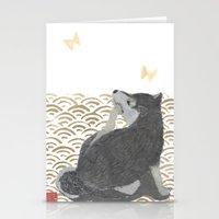 shiba inu Stationery Cards featuring SHIBA INU, DOG, SEIGAIHA  by Bless Hue