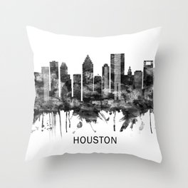Houston Texas Skyline BW Throw Pillow