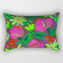 Neon Yellow Magenta Blooms Rectangular Pillow