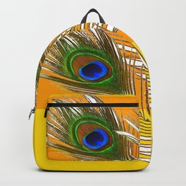 3 GREEN PEACOCK FEATHERS YELLOW ABSTRACT ART Backpack