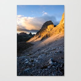 Sunset view in dolomite alps at Tre Cime di Lavaredo Canvas Print