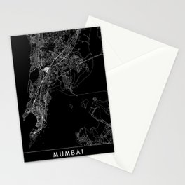 Mumbai Black Map Stationery Cards