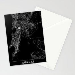 Mumbai Black Map Stationery Cards