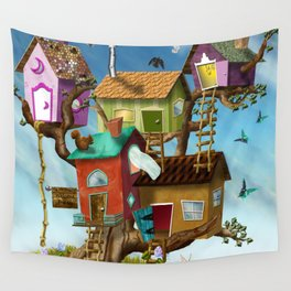 Home Sweet Tiny Tree Houses Wall Tapestry