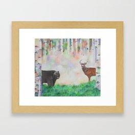 The relationship between a bear and a deer Framed Art Print
