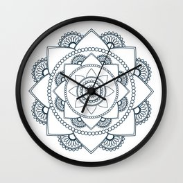 Mandala 01 - Navy Blue on White Wall Clock