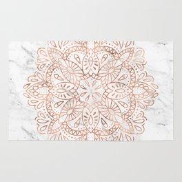 Rose Gold Mandala on Marble Rug