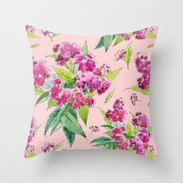 Pattern with pink flowers and leaves (Spiraea) Throw Pillow