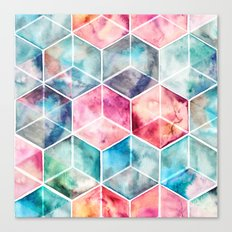 Translucent Watercolor Hexagon Cubes Canvas Print