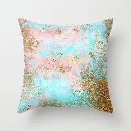 Pink and Gold Mermaid Sea Foam Glitter Throw Pillow