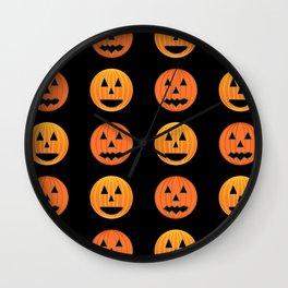 Cute orange pumpkins pattern Wall Clock