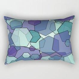 Converging Hexes - teal and purple Rectangular Pillow