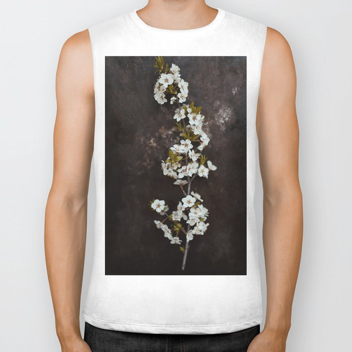 Cherry Blossom on black  Biker Tank