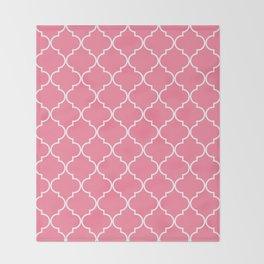 Quatrefoil - Watermelon pink Throw Blanket