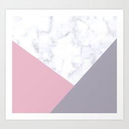 Purple, pink & white marble Art Print
