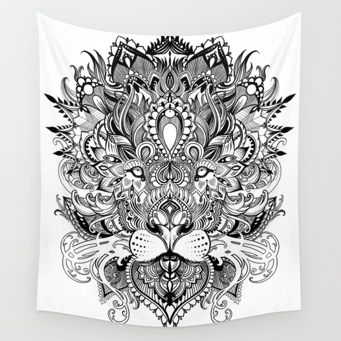 Black And White Geometric pattern mandala lion face Wall Tapestry by ...