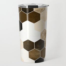 Honeycombs print, sepia colors hexagons with stone effect Travel Mug