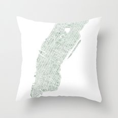 Map Manhattan NYC watercolor map Throw Pillow