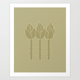 Abstract Art Flower BUDS Minimal Plants  Art Print
