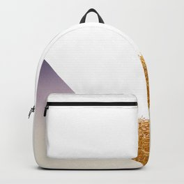 Purple gradient triangle with golden grass by artist Larry Simpson Backpack