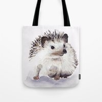 hedgehog Tote Bags featuring Hedgehog by Bridget Davidson