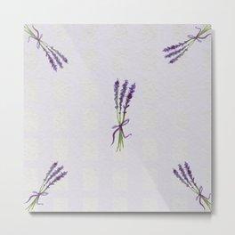 purple lavender bouquet watercolor pattern Metal Print