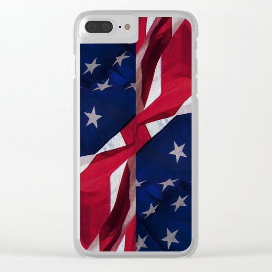 RED, WHITE AND BLUE Clear iPhone Case