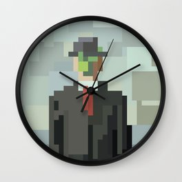 Low res man in black suit and tie pixel art 8 bit mosaic Wall Clock