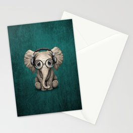 Cute Baby Elephant Dj Wearing Headphones and Glasses on Blue Stationery Cards
