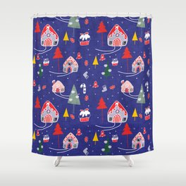 gingerbread house blue #Christmas #Holiday Shower Curtain