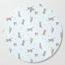 Polka Dot Cats in Blue Cutting Board