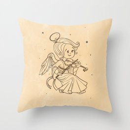 Nicely and happy smiling cute baby Christmas angel making music playing violin. Ink on old paper Throw Pillow