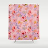 girly Shower Curtains featuring girly floral by clemm