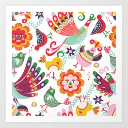 scandinavian folkart birdies | white Art Print