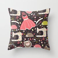 sewing Throw Pillows featuring Vintage Sewing by Poppy & Red