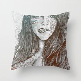 U-Turn: Rainbow (mandala tattooed woman, drawing portrait) Throw Pillow
