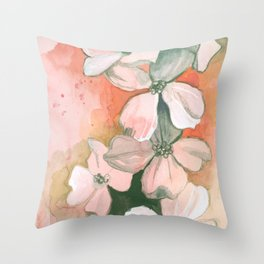 Dogwoods Sketch in Red Throw Pillow