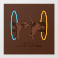 aperture Canvas Prints featuring Aperture Science - Canine Aptitude Testing by Visual World