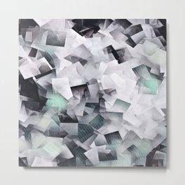 Geometric Stacks Mint Grays Metal Print