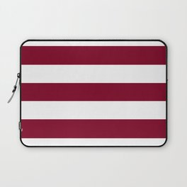 Burgundy - solid color - white stripes pattern Laptop Sleeve