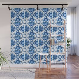 Vintage shabby Chic Seamless pattern with blue flowers and leaves Wall Mural