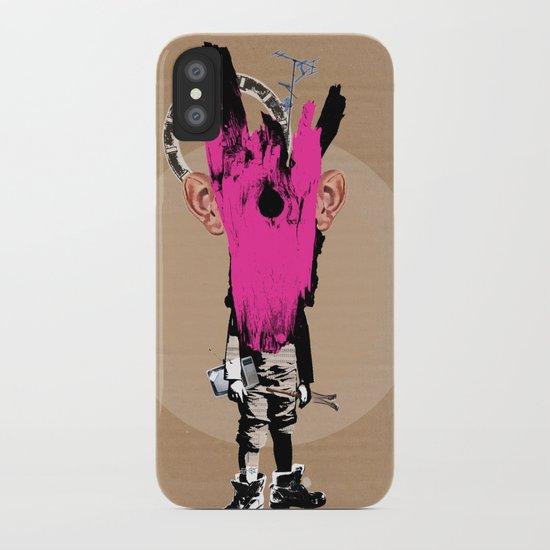Crazy Pink Wooden Deer Head Kid Collage iPhone Case