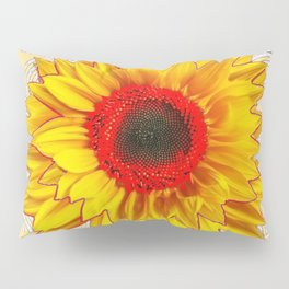 Modern Art Red Centered Yellow Sunflower Pattern Design Pillow Sham