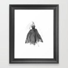 Black & White Strapless Watercolor Dress  Framed Art Print