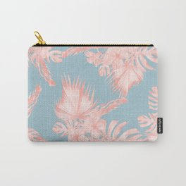 Tropical Palm Leaves Hibiscus Coral Blue Carry-All Pouch
