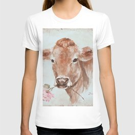 Cow with Rose by Debi Coules T-shirt