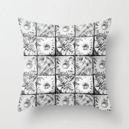 Black flowers Throw Pillow
