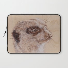 Meerkat Portrait - Drawing by Burning on Wood - Pyrography Art Laptop Sleeve
