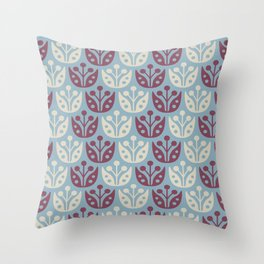 Mid Century Modern Flower Pattern Burgundy and Blue 112 Throw Pillow